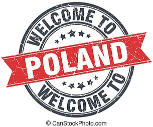 welcome to Poland red round vintage stamp