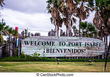 welcome to port isabel texas sign