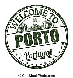 Welcome to Porto grunge rubber stamp