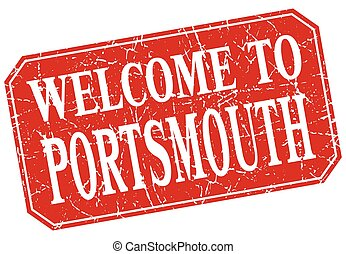 welcome to Portsmouth red square grunge stamp