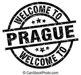 welcome to Prague black stamp