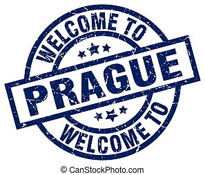 welcome to Prague blue stamp