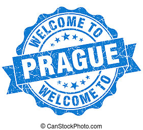 welcome to Prague blue vintage isolated seal