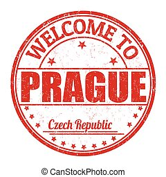 Welcome to Prague grunge rubber stamp on white background, vector illustration