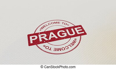WELCOME TO PRAGUE wooden stamp animation. Alpha matte for...