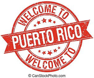 welcome to Puerto Rico red round ribbon stamp