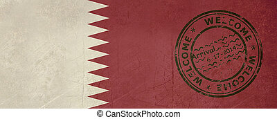 Welcome to Qatar flag with passport stamp