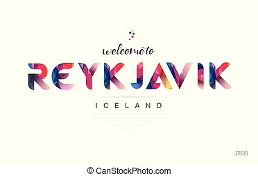 Welcome to reykjavik iceland card and letter design typography icon