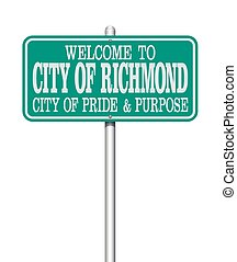 Welcome to Richmond road sign
