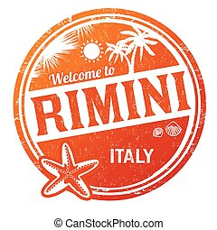 Welcome to Rimini grunge rubber stamp