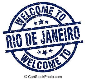 welcome to Rio De Janeiro blue stamp