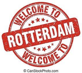 welcome to Rotterdam red round vintage stamp
