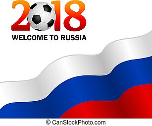 welcome to Russia 2018. Vector illustration on white background.