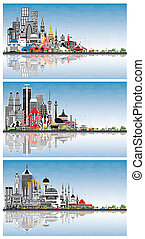 Welcome to Russia, Indonesia and Turkey Skylines with Gray Buildings, Blue Sky and Reflections. Tourism Concept with Historic Architecture. Cityscapes with Landmarks. Jakarta. Surabaya. Bekasi. Bandung.