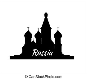 Welcome to Russia. Silhouette St. Basil's Cathedral on Red square - vector stock flat illustration. Landscape design.