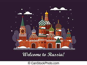 Welcome to Russia. St. Basil s Cathedral on Red square. Kremlin palace - vector stock flat illustration. Winter night landscape design