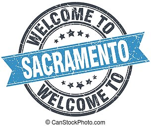 welcome to Sacramento blue round vintage stamp