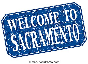 welcome to Sacramento blue square grunge stamp