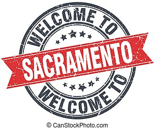 welcome to Sacramento red round vintage stamp