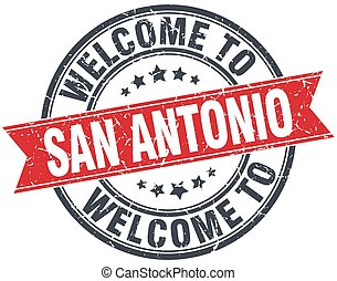 welcome to San Antonio red round vintage stamp