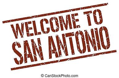 welcome to San Antonio stamp