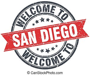 welcome to San Diego red round vintage stamp