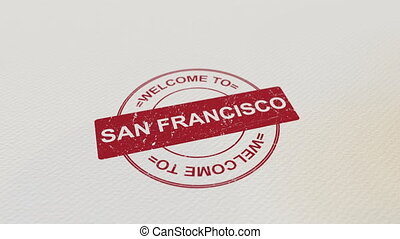 WELCOME TO SAN FRANCISCO wooden stamp animation. Alpha matte...