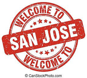 welcome to San Jose red round vintage stamp