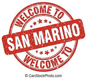 welcome to San Marino red round vintage stamp