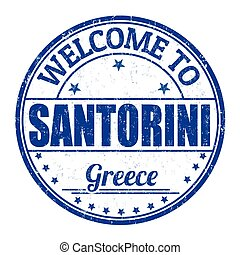 Welcome to Santorini sign or stamp