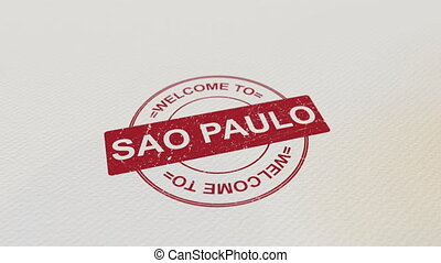WELCOME TO SAO PAULO wooden stamp animation. Alpha matte for...