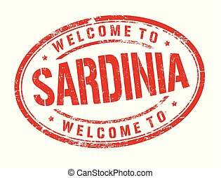 Welcome to Sardinia sign or stamp on white background,...