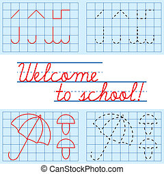 Welcome to school card, vector illustration