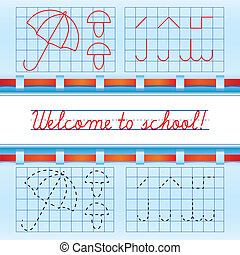 Welcome to school card with red ribbon, vector illustration