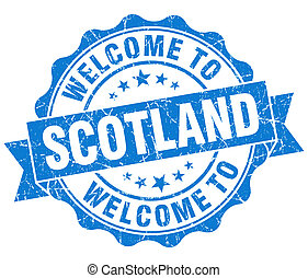 Welcome to Scotland blue grungy vintage isolated seal