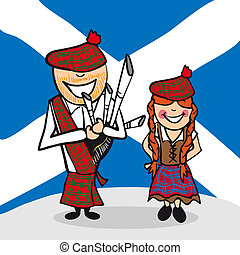 Welcome to Scotland people - Scottish man and woman cartoon...