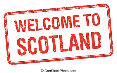 welcome to Scotland red grunge square stamp