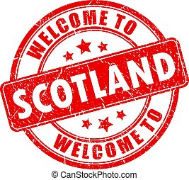 Welcome to Scotland red grunge stamp