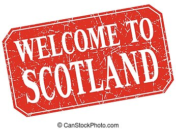 welcome to Scotland red square grunge stamp