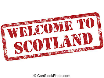 welcome to scotland grunge stamp with on vector illustration