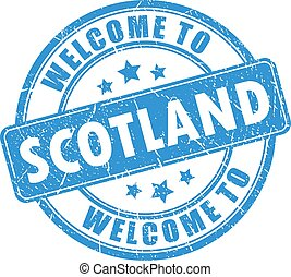 Welcome to Scotland vector stamp