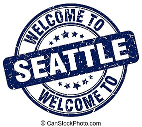 welcome to Seattle blue round vintage stamp
