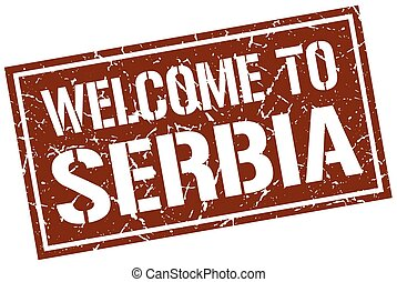 welcome to Serbia stamp