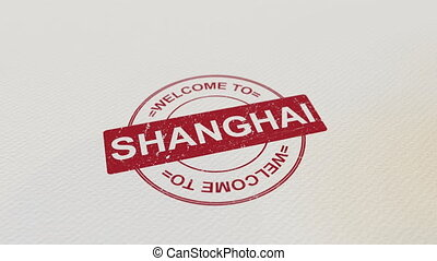 WELCOME TO SHANGHAI wooden stamp animation. Alpha matte for...