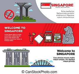 Welcome to Singapore promotional posters with unusual architecture and food