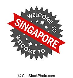 Welcome to SINGAPORE. Round label with red ribbon. Vector illustration