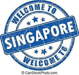 Welcome to Singapore rubber vector stamp