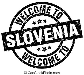 welcome to Slovenia black stamp