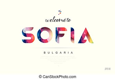 Welcome to sofia bulgaria card and letter design typography icon