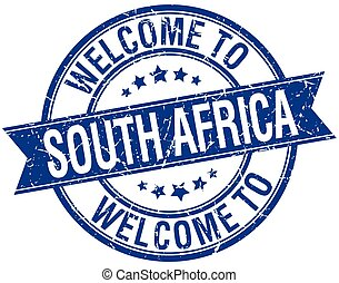 welcome to South Africa blue round ribbon stamp